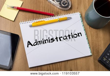 Administration - Note Pad With Text