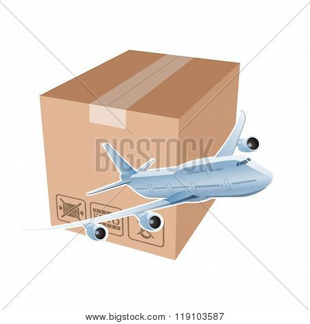 Plane and box as simbol of the airmail