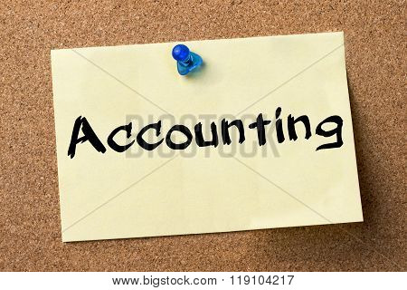 Accounting  - Adhesive Label Pinned On Bulletin Board
