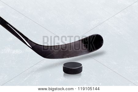 Ice Hockey Stick And Puck With Copy Space