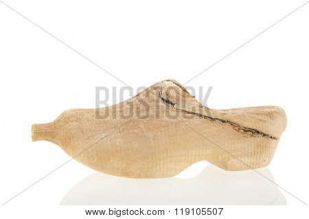 Proto type Dutch wooden clog isolated over white background