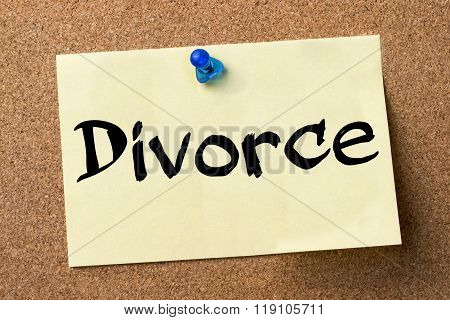Divorce - Adhesive Label Pinned On Bulletin Board