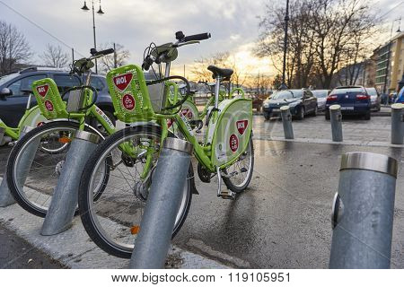 BUDAPEST, HUNGARY - FEBRUARY 02: Low angle shot of Bubi, Budapest's bicycle hire scheme. February 02, 2016 in Budapest.