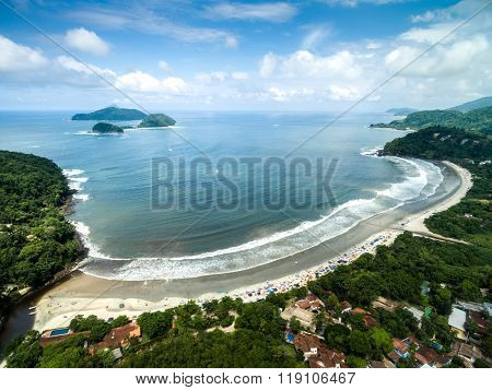 Aerial View of Barra do Sahy, Sao Sebastiao, Sao Paulo, Brazil