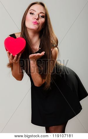 Lovely Woman With Red Heart Shaped Gift Box
