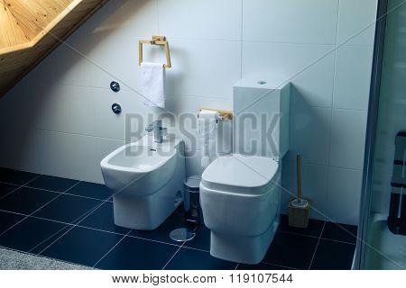 Toilet And Bidet In A Modern Bathroom
