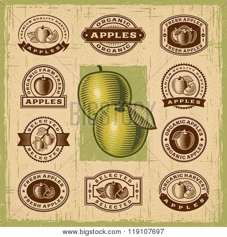 Vintage apple stamps set. Editable EPS10 vector illustration with transparency.
