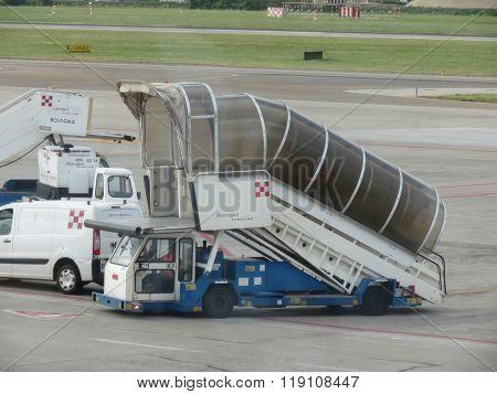 BOLOGNA, ITALY - CIRCA MAY 2014: Aircraft stair parked at the airport