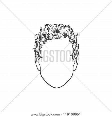 Man haircut. Hand drawn  vector illustration. Man's  Hairstyle