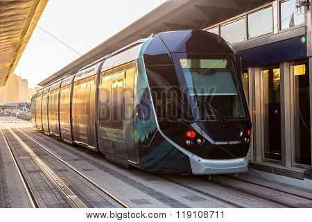 New Modern Tram In Dubai, Uae