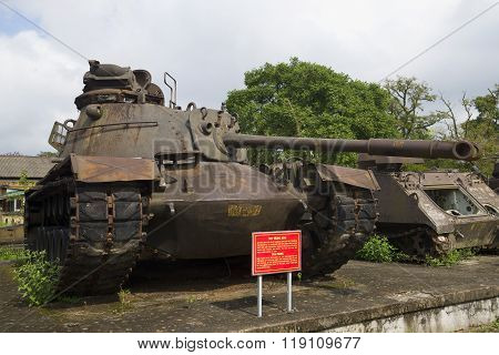 American tank M-48 in the exposition of military equipment. Hue, Vietnam