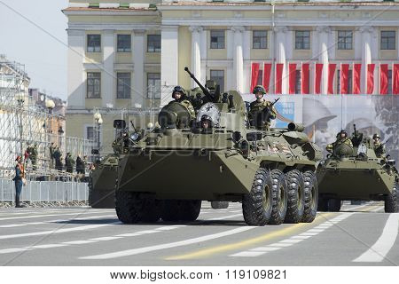The BTR-82A at the Palace square. Rehearsal of parade in honor of Victory Day in Saint-Peterburge