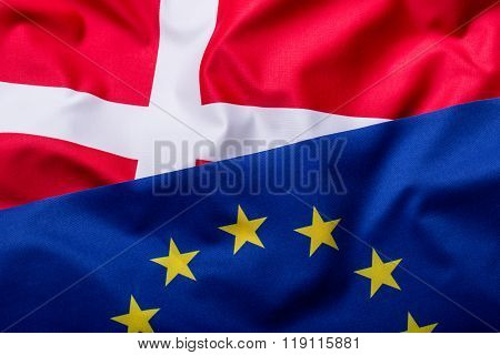 Flags of the Denmark and the European Union. Denmark Flag and EU Flag. World flag money concept