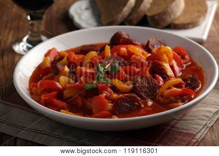 Traditional Hungarian Lecso with spiced sausage