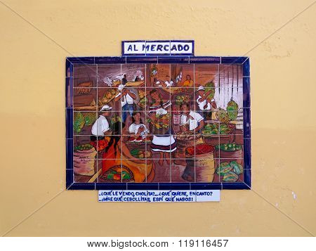 Decorative mural of a typical scene