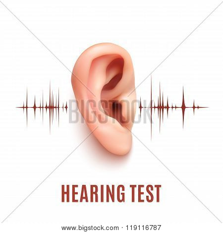 Hearing test. Ear on white background.