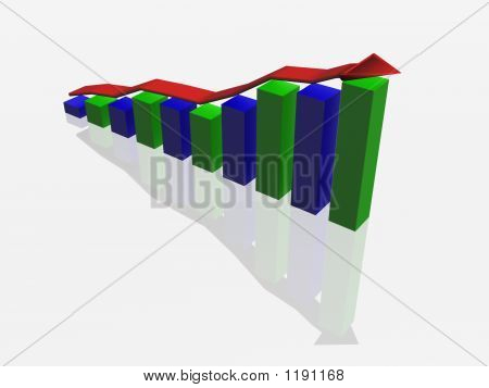 Business Graph On White Reflective Surface. The 3D  Image
