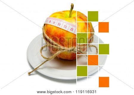 Collage Of Apple Surrounding Of Measuring Tape Tied With Twine With Large Squares Some Of Them Are F