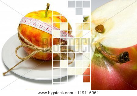 Collage Of Apple Surrounding Of Measuring Tape Tied With Twine And Half Of Apple Closeup On Differen
