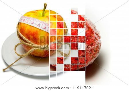 Collage Of Apple Surrounding Of Measuring Tape Tied With Twine And Frozen Strawberry On Different La