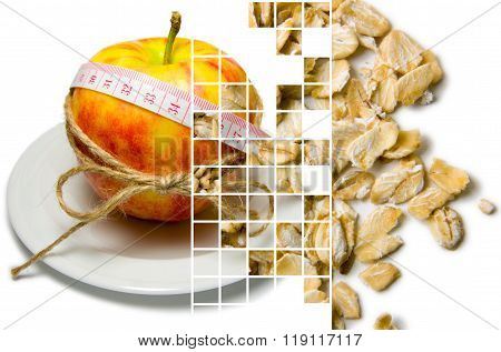 Collage Of Apple Surrounding Of Measuring Tape Tied With Twine And Oat Flakes Closeup On Different L
