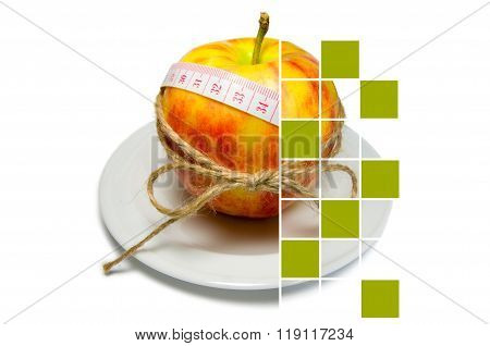 Collage Of Apple Surrounding Of Measuring Tape Tied With Twine With Large Squares Some Of Them Are C