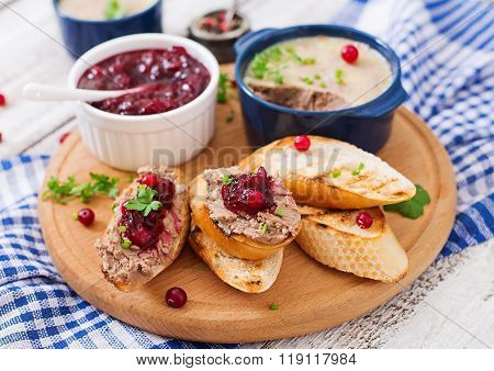 Chicken Liver Pate With Cranberry Sauce, Served With Croutons