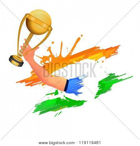 Creative illustration of a Cricket player's hand holding golden trophy on Indian Tricolor paint stroke background.