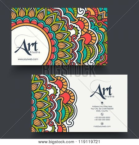 Professional Horizontal Business Card, Name Card or Visiting Card set with colorful traditional floral design.