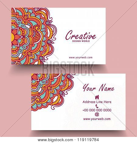 Colorful floral design decorated, Horizontal Business Card, Name Card or Visiting Card set.