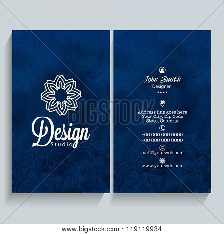 Professional Vertical Blue Business Card, Name Card or Visiting Card set with front and back presentation.