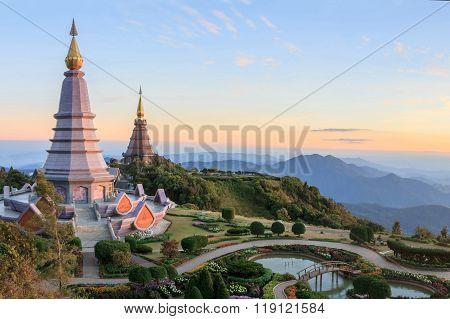 Beautiful Sunset At Two Pagoda (noppha Methanidon-noppha Phon Phum Siri Stupa), Doi Inthanon Nationa