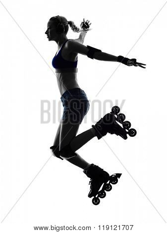 woman in roller skate silhouette