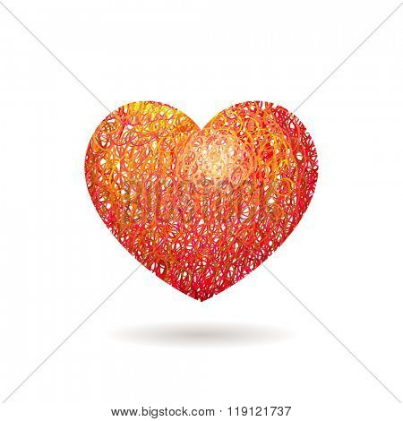 Hand drawn Heart symbol. Vector calligraphy Red Heart. Grunge Heart. Heart Shape. Heart Texture. Valentine's Day Heart. March 8 Women's Day. Brush Stroke Heart. Lines Heart Background