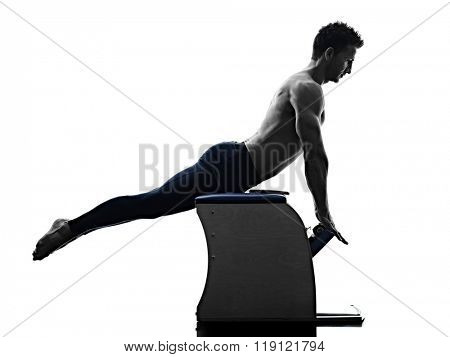 man pilates chair exercises fitness isolated