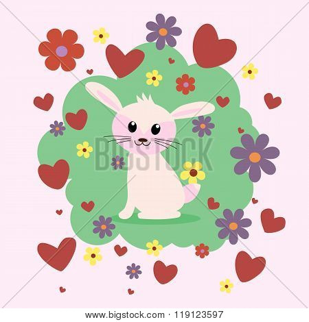 Cute Bunny In Cartoon Style