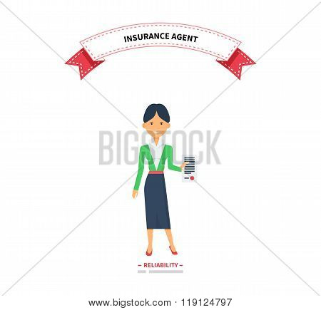 Insurance Agent Woman Reliablity Design Flat