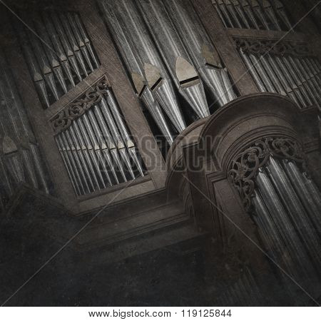 Creepy Image Of An Old Pipe Organ