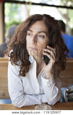 Woman White Shirt Phoning