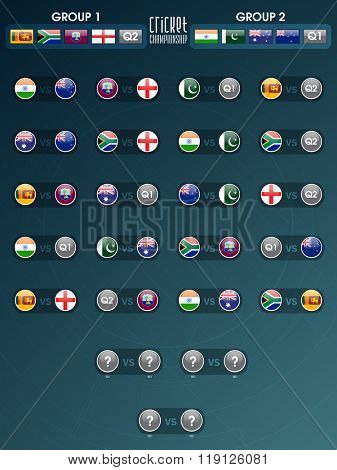 Cricket Match Schedule with participant countries flags on shiny background.