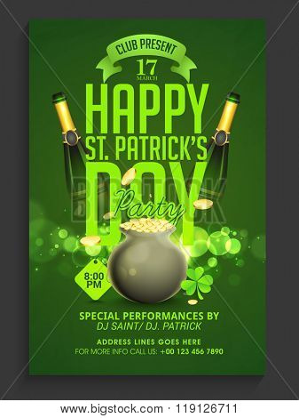 Creative Pamphlet, Flyer or Banner design with glossy pots full of coins and champagne bottles for Happy St. Patrick's Day celebration.