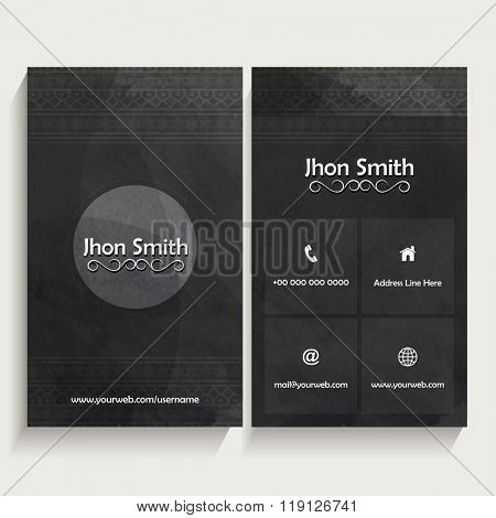 Creative Vertical Business Card, Name Card or Visiting Card set with front and back side presentation.