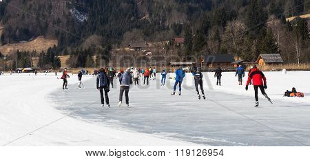 People Skating On The Ice In Austria