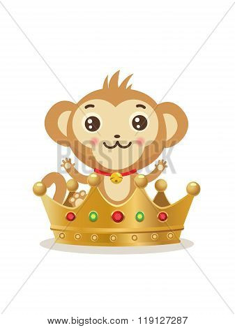 Monkey In The Crown. Cute Vector Monkey. Gold Crown. Animal Vector. Monkey Crown Emoji. Rich Monkey Logo. Rich Monkey Painting. Rich Monkey Picture. Abundant Monkey King. Plentiful Monkey.