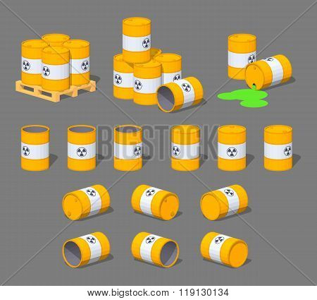 Metal barrels with the nuclear waste