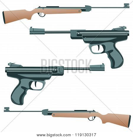 firearm, a pistol on a white background. Vector.