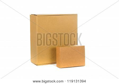 Closed Two Big And Small Cardboard Box Or Brown Paper Box Isolated With Soft Shadow On White Backgro