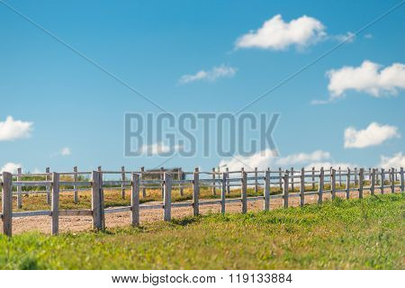 Corral For Walking Of Animals And Green Field