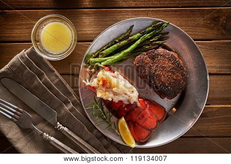 top down overhead view of steak and lobster dinner