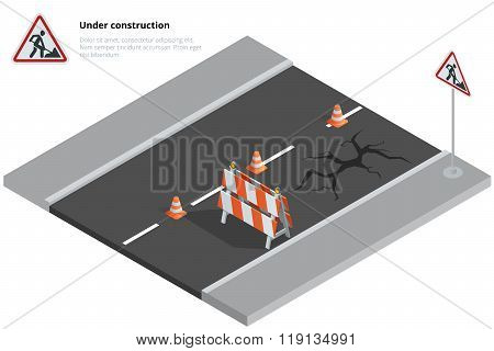 Road repair, under construction road sign, Repairs, maintenance and construction of pavement, Road c